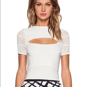 Ronny Kobo White Aria Knit Cut Out Top